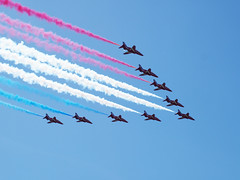Red Arrows, Southsea, June 2014 (Auntie P) Tags: contrail aircraft portsmouth redwhiteandblue dday redarrows redwhiteblue southsea aerobatic aerobatics dday70