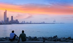 Hopes in Magical sunset (khalid almasoud) Tags: city sunset sea beach june clouds landscape evening flickr sony magic cybershot calm ii estrellas kuwait magical 2014      greatphotographers rx100 khalidalmasoud   dscrx100 rx100ii