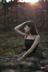 (victoriatsukanova) Tags: sunset fashion rock forest model grunge blackdress blacklipstick