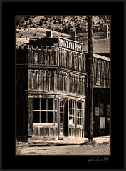 The Montana Post - Virginia City (the Gallopping Geezer '5.0' million + views....) Tags: bw white black abandoned sepia canon montana decay historic mining faded worn western ghosttown weathered 2008 virginiacity wildwest decayed geezer outlaw corel oldwest blackwhitw