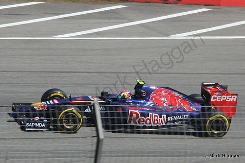 Daniil Kvyat in his Toro Rosso in Free Practice 2 at the 2014 German Grand Prix