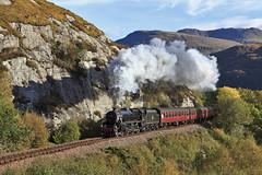 Lochailort rock face (EltonRoad) Tags: west train highlands railway steam line highland blackfive lochailort 45407 45487
