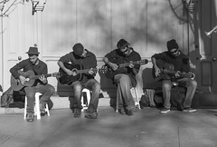 Four guitars in Madrid (mystery-lana) Tags: madrid street travel people blackandwhite bw music art blackwhite spain europa artist guitar streetphoto bianconero biancoenero