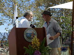 Friends of the Los Angeles River Co-founder and President Lewis MacAdams and Joseph T. Edmiston