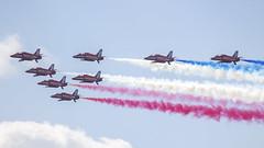 RAF Red Arrows (Matt Le Riche Photography) Tags: uk blue red white force hawk smoke air jets nine royal diamond formation planes arrows twister britian raf t1