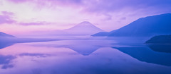 Purple Silence (Yuga Kurita) Tags: morning travel nature japan clouds reflections landscape dawn fuji purple fujisan 自然 富士山 風景 fujiyama 紫 夜明け 富士