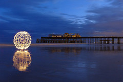 Miroir (Stoff74) Tags: uk light sea england reflection beach painting photography sussex pier long exposure orb east hastings sparkler