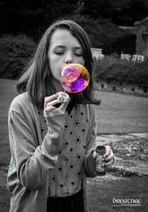 Coloured bubble! (Breatnac Photography) Tags: girls portrait white black color colour girl photography hall bubbles blow bubble coloring colouring selective breatnac