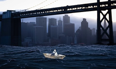Hanging in there (00alexx) Tags: 3d bayarea blender dawn newspaper ocean pacificocean paperboat sanfrancisco waves baybridge bridge sanfranciscobay sf