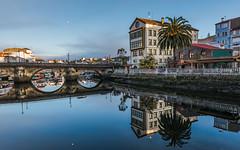 Sunrise reflection (Explored) (Eduardo Regueiro) Tags: red spain reflections betanzos galicia coruña bridge sunrise