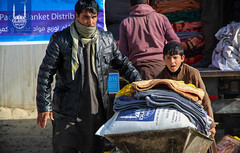 Islamic Relief distribute blankets and food packs in Kabul, Afghanistan for their winterization program.
