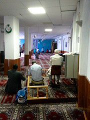 Turkish Mosque in Frankfurt (A. Yousuf Kurniawan) Tags: mosque praying prayer moslem islam people dailylife activity architecture interior art culture cameraphone