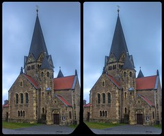 Church of Benzingerode 3-D / Stereoscopy / CrossView / HDR / Raw (Stereotron) Tags: sachsenanhalt saxonyanhalt harz mountains gebirge benzingerode dorfkirche church chapel architecture village wernigerode quietearth crosseye crosseyed crossview xview cross eye pair freeview sidebyside sbs kreuzblick 3d 3dphoto 3dstereo 3rddimension spatial stereo stereo3d stereophoto stereophotography stereoscopic stereoscopy stereotron threedimensional stereoview stereophotomaker stereophotograph 3dpicture 3dglasses 3dimage hyperstereo twin canon eos 550d yongnuo radio transmitter remote control synchron kitlens 1855mm tonemapping hdr hdri raw neobyzantismus historism ostfalen ostfalia hardt hart hercynia harzgau