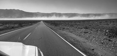 Sandstorm aheaaaad! (PeterThoeny) Tags: deathvally california drive day desert lakebed playa sandstorm storm valley landscape drylakebed road highway outdoor perspective hdr 1xp raw nex6 selp1650 photomatix qualityhdr qualityhdrphotography monochrome blackandwhite fav200