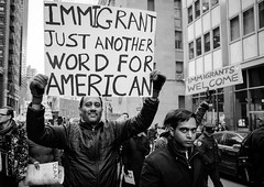 Donald Trump Immigration Ban Protest - NYC 2017 (A Screaming Comes Across the Sky) Tags: donald trump immigration ban protest nyc 2017 political politics democrat republican gop nikon tamron 2470 d800e d800 new york city newyork manhattan people monochrome crowd additional tags you safe f buildin
