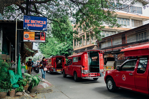 A parade of songthaews, Chiang Mai