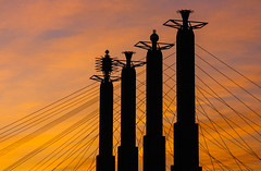 Sky Stations (KC Mike D.) Tags: stations sky hall bartle battlehall columns curlers hair kcmo art sculptures iconic lines wires orange pastel pylons rmfischer artdeco cables steel skyline architecture