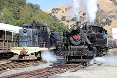 Quincy Railroad Co. #2 (Alco 2-6-2T) and USAX #7348 (GE 65-Tonner) in Niles Canyon, CA (CaliforniaRailfan101 Photography) Tags: yard steam ge porter baldwin tankengine steamlocomotive alco nilescanyonrailway centercab 262t steamfest ncry 040t 65tonner 2662t quincyrailroadco2 robertdollarco3 clovervalleylumberco4 steamfest2014 masoncountyloggingco7 usax7348 steamfest2014quintupleheader chiggen santacruzportlandcement2