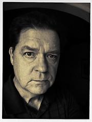 SP 6/21/14 (MPnormaleye) Tags: old portrait selfportrait man detail monochrome face shadows darkness serious textures utata features grainy selfie