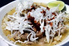 Pork Pozole (Laura Gelezunas) Tags: sports beer dinner lunch soup stew photographer photos pork mexican drinks snacks puertovallarta cocktails pozole hominy food posole puertovallartarestaurants authentic blakesrestaurant lauragelezunas