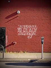 You are already enough too much (Reva G) Tags: street red brick wall vancouver graffiti chalk nice random main 8th etsooi