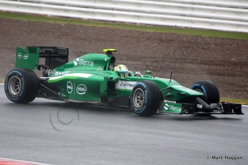 Marcus Ericsson in his Caterham during Free Practice 3 at the 2014 British Grand Prix