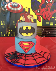 Edit 3 (simplybakedkhas) Tags: birthday cake spiderman superhero batman fondant