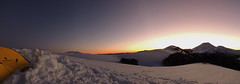 Panorama Campamento (Mono Andes) Tags: chile sunset panorama ski atardecer volcano clear backpacking andes campamento skitour esqu volcn volcanoe randonn chilecentral regindelaaraucana volcnlonquimay