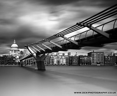Millenium Bridge (david.kittos) Tags: bridge 2 blackandwhite bw water silver long exposure joel millenium blurred olympus 100mm system pro kit hitech zone e5 effex 1260mm tjintjelaar prostop irnd