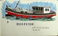 Péniche Maltesse à Saint-Nicoles-des-eaux (Jean-Paul Rivière) Tags: sketch croquis pittartistpen