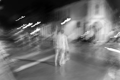 inebriation (local paparazzi (isthmusportrait.com)) Tags: longexposure bw white motion black blur blancoynegro blanco strange night drunk contrast dark eos 50mm prime evening weird moving blurry pod aperture exposure downtown raw crossing darkness bright pavement walk iso400 f14 alien negro drinking blurred double sidewalk tuesday reality drunken mistake lighttrails usm madisonwi crosswalk streaks oddity stroll streaking statestreet sober ef fool tipsy whoops slowshutterspeed doublevision 2014 movingpictures inebriated cr2 isthmus drunkgoggles 50mmf14usm soberup danecountywisconsin falsereality canon5dmarkii pse7 localpaparazzi redskyrocketman lopaps isthmusportrait