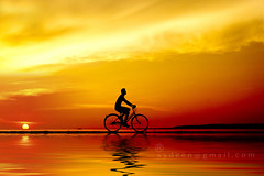 silhouette of the cyclist (sydeen) Tags: road travel boy sunset shadow red summer wallpaper sky sun man reflection field bike bicycle silhouette sport night speed sunrise relax dawn cycling mirror evening cyclist tour ride exercise outdoor weekend background lifestyle wave run biking biker recreation fitness velocity contour fit wheelman cyclerace rapidity sportsminded
