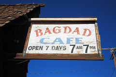 Route 66 - Bagdad Cafe (Frank Footer Fotos) Tags: california road ca trip travel blue red vacation sky usa sun west building art classic film home sunshine sign wall set america vintage movie photography freedom restaurant town office cafe highway colorful desert framed small fine mother murals sunny diner roadtrip 66 historic retro adventure business route nostalgia springs posters buy baghdad prints americana kicks remote motor roadside decor rt isolated bagdad attractions newberry