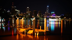 brisbane river at night (isaacbetteridge) Tags: city longexposure light red urban white black color colour water skyline night landscape fire photography photo cool interesting view brisbane colourful pylons picturesque refelction toowoombanight
