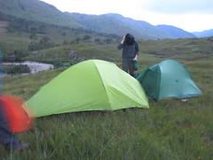 Breaking camp in Cona Glen,  midges in millions