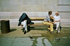Anti-social (deepstoat) Tags: london zeiss 35mm bench habit contaxt3 kodakportra400nc traineenun sunshadeorraincoat
