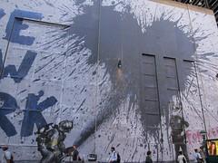 Mr. Brainwash: 9/11 Mural, on Century 21 (Scoboco) Tags: streetart graffiti worldtradecenter 911 banksy wtc gothamist september11 worldtrade 911memorial century21 freedomtower september11memorial mrbrainwash groundzermemorial mrbrainwash911mural 911muralcentury21