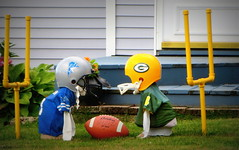 The U.P. stand-off (yooperann) Tags: green up bay geese football funny michigan detroit lawn packers upper lions players peninsula dressed marquette rivals goalposts