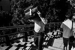 2014148 (ruggeroranzani_RR) Tags: bridge venice shadow people blackandwhite man film analog 35mm bag carry leicam6 agfaapx100 voigtlandernokton40f14 adoxfx39