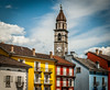 Colourful Buildings (a man of constant sorrow) Tags: bluesky lakemaggiore balconies clock colourfulbuildings church clouds vezzo piemonte italy it