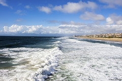 Manhattan Beach View (isaac.borrego) Tags: uploadedviaflickrqcom sand beach water ocean clouds sky pier pacificocean manhattanbeach losangeles california canonrebelt4i