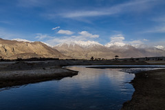 Evening at Nubra Valley, Ladakh, India (Mijan Rashid) Tags: nubravalley valley india asia asian landscape ladakh leh river torrent tamron tamron18270mm travel photography kashmir blue bluesky sky clouds cloud snow ice bharat diskit cold winter wind colddesert canon canon1100d canon1100 1100d 18270mm outdoor southasia sun waterscape mountain mountains