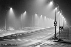 night street B&W (dariusz_lipinski) Tags: city night street streets light silence infrastructure lamps streetlights fog road monochrome blackandwhite bw dariuszlipiński lowersilesia walbrzych