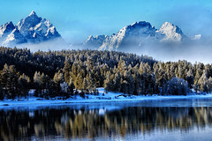 ONE SPECIAL MOMENT (Aspenbreeze) Tags: grandtetonnationalpark tetons tetonmountains wyominglandscape mountains oxbowbend trees fog snow water reflection nature rural outdoors nationalpark bevzuerlein aspenbreeze moonandbackphotography