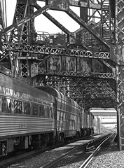 Classic BW (GLC 392) Tags: bw black white lift bridge hoosier state iowa pacific holding company down town downtown chicago il illinois blue hour passenger train emd gp40fh2 4144 4135 ic central union station sears tower willis clouds sky railroad railway slrg dusk skyline city