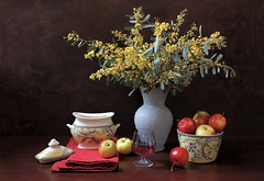 Spring Bounties (Esther Spektor - Thanks for 12+millions views..) Tags: stilllife naturemorte bodegon naturezamorta stilleben naturamorta composition creativephotography artisticphoto arrangement tabletop bouquet flowers mimosa food fruit apple spring wine vase bowl napkin sugarbowl lid goblet glass ceramics patterm availablelight red yellow green blue white brown estherspektor canon