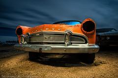 Hernando's Ghost (dejavue.us) Tags: desoto jalopy nikon desert d800 vle mojavedesert 1956 orange firedome california abandoned 180350mmf3545 car junkyard fullmoon cloudy nikkor lightpainting longexposure nightphotography