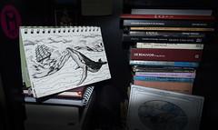 Biblioteca Submarina (bigbangbebop) Tags: whales ballenas biblioteca bliblio barco ship book libros illustration de beauvoir 1984 orwell kant