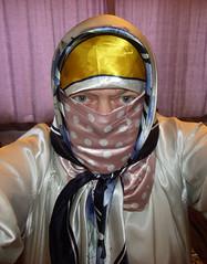 GEDC0008 (Tonya Chiffon.) Tags: scarf headscarf scarves headscarves satin nighty nightdress gown polkadots satinpolkadots