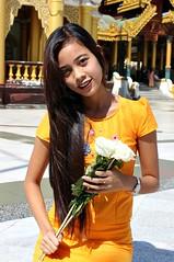 Faces of Burma: 2 (Peter Denton) Tags: youngwoman lady portrait flowers beauty yangon rangoon burma myanmar southeastasia canoneos100d shwedagonpagoda buddhism religion ©peterdenton